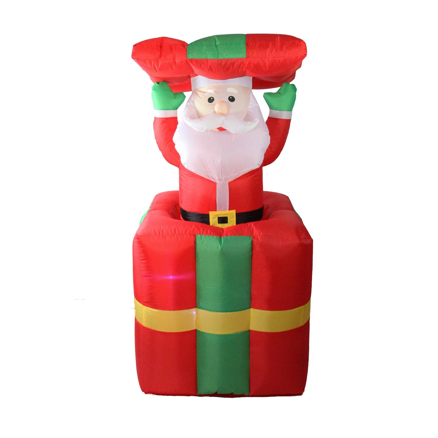 Lb International 5' Lighted Inflatable Pop Up Santa Claus in Gift Box Christmas Yard Art Decoration