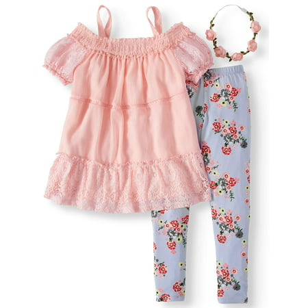 - Smocked Cold Shoulder Tunic and Floral Legging, 2-Piece Outfit Set with Headband (Little Girls & Big Girls)