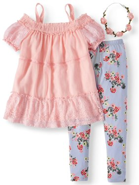 55f3487ba8cf5 Product Image Smocked Cold Shoulder Tunic and Floral Legging, 2-Piece  Outfit Set with Headband (