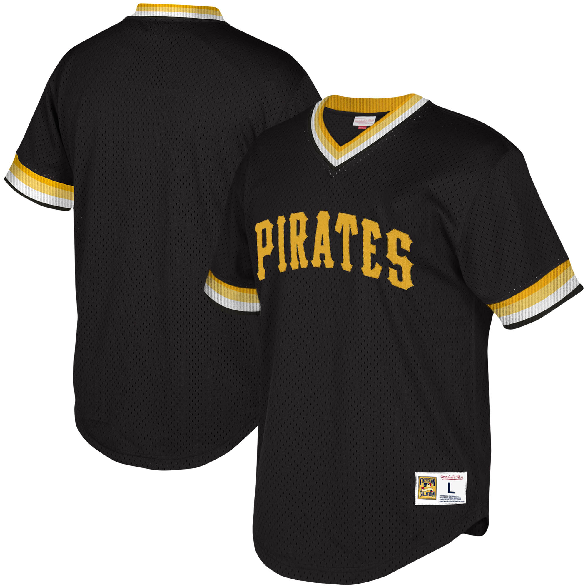 Pittsburgh Pirates Mitchell & Ness Youth Cooperstown Collection Mesh Wordmark V-Neck Jersey - Black