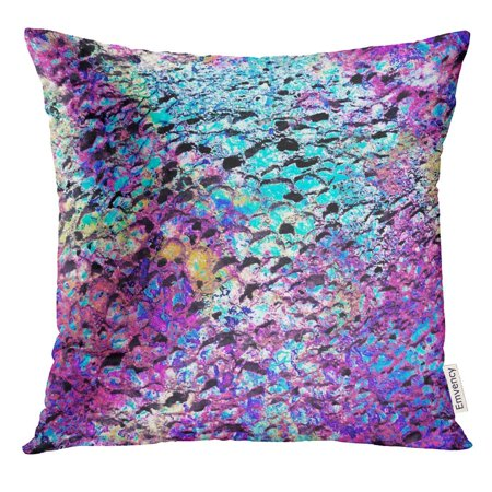 ARHOME Blue Iridescent Stone with Bright Violet and Turquoise Colors Opalescent Holographic Effect Green Opal Pillow Case 16x16 Inches -
