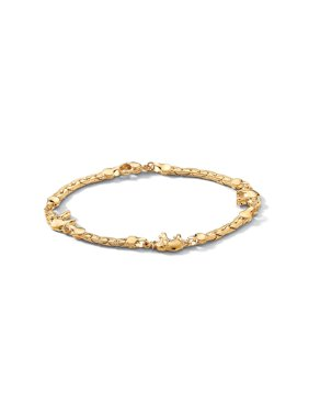 "Elephant Ankle Bracelet in Yellow Gold Tone 10"""