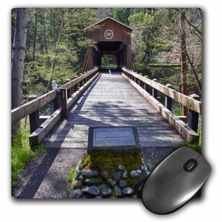3dRose OR, McKee Covered Bridge, Applegate River - US38 JWI0424 - Jamie and Judy Wild, Mouse Pad, 8 by 8 inches