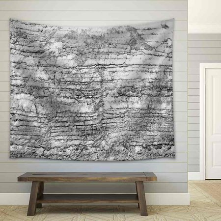 wall26 - Black and White Cracked Stone Pattern for The Best Texture and Design Artwork - Fabric Wall Tapestry Home Decor - 51x60