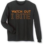 Women's Halloween Shirt - Watch Out I Bite Funny Long-Sleeve T-Shirt