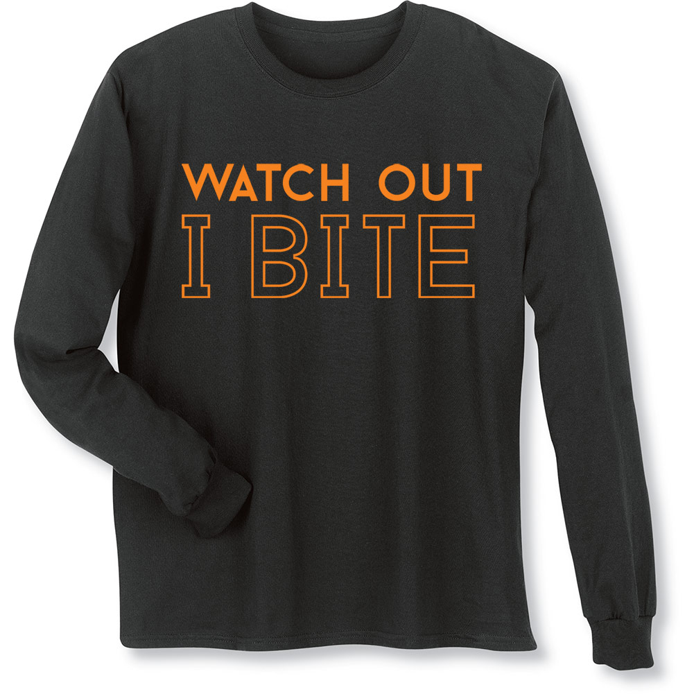 Women's Halloween Shirt - Watch Out I Bite Funny Long-Sleeve T-Shirt