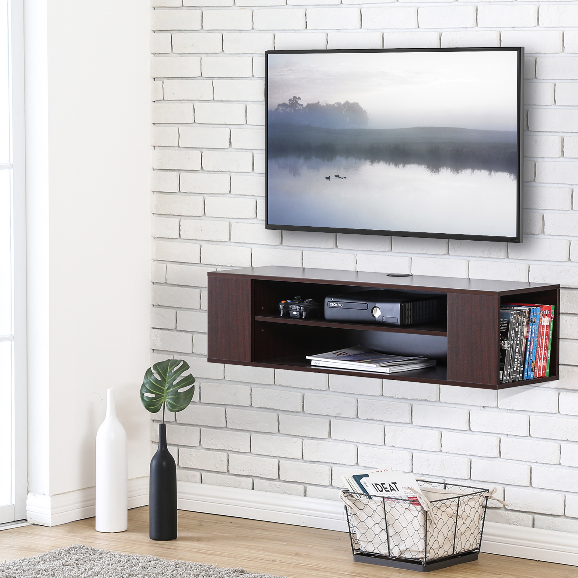 Fitueyes Wall Mounted Media Console Shelf TV Stand Walnut F1DS210001WB