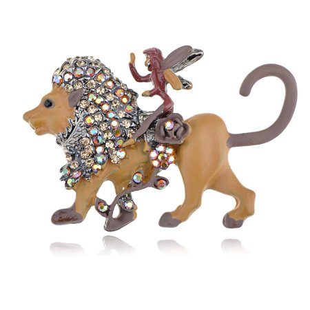 Topaz Aurora Borealis Crystal Gem Fairy Tale Angel Riding Lion Beast Pin Brooch