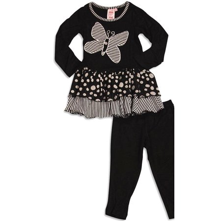 Lipstik Girls Clothes (Me Me Me by Lipstik - Little Girls Long Sleeve Pant Set Asst Fabrics Black Butterfly /)