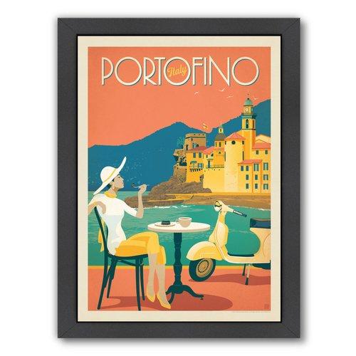 East Urban Home 'Italy Portofino' Framed Graphic Art Print