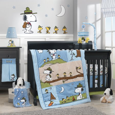 Lambs & Ivy Snoopy's™ Campout 4-Piece Crib Bedding Set - Blue, Brown, Beige