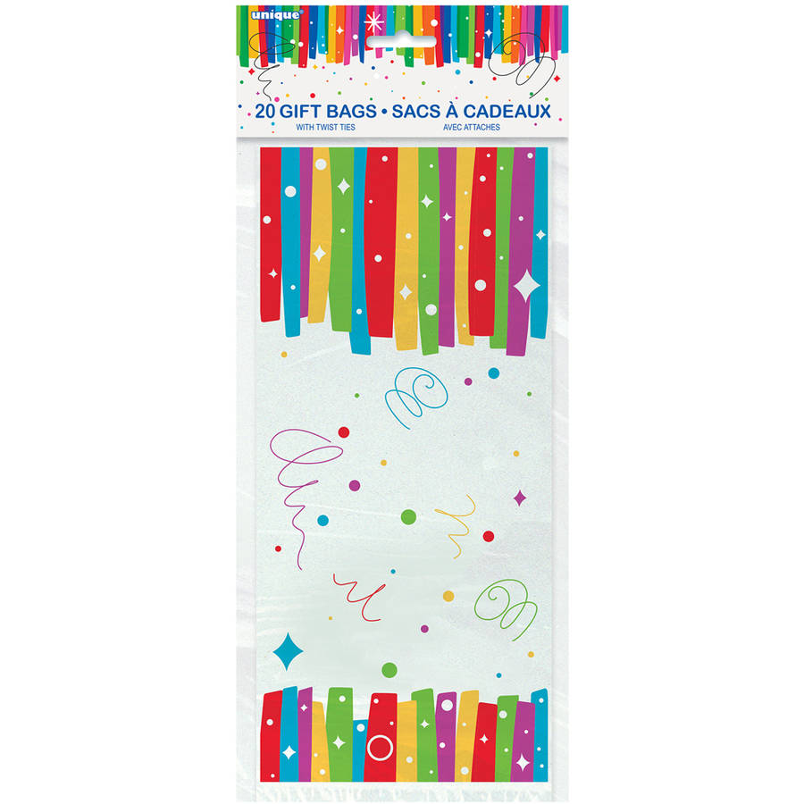 Rainbow Birthday Party Cellophane Bags, 20-Count