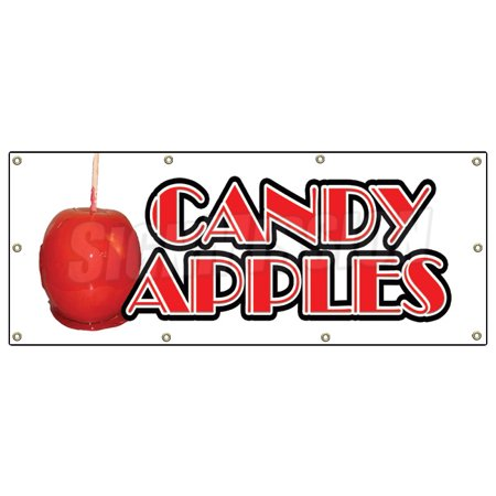 CANDY APPLES BANNER SIGN caramel apple cart signs taffy homemade candy fresh](Caramel Apples Halloween)