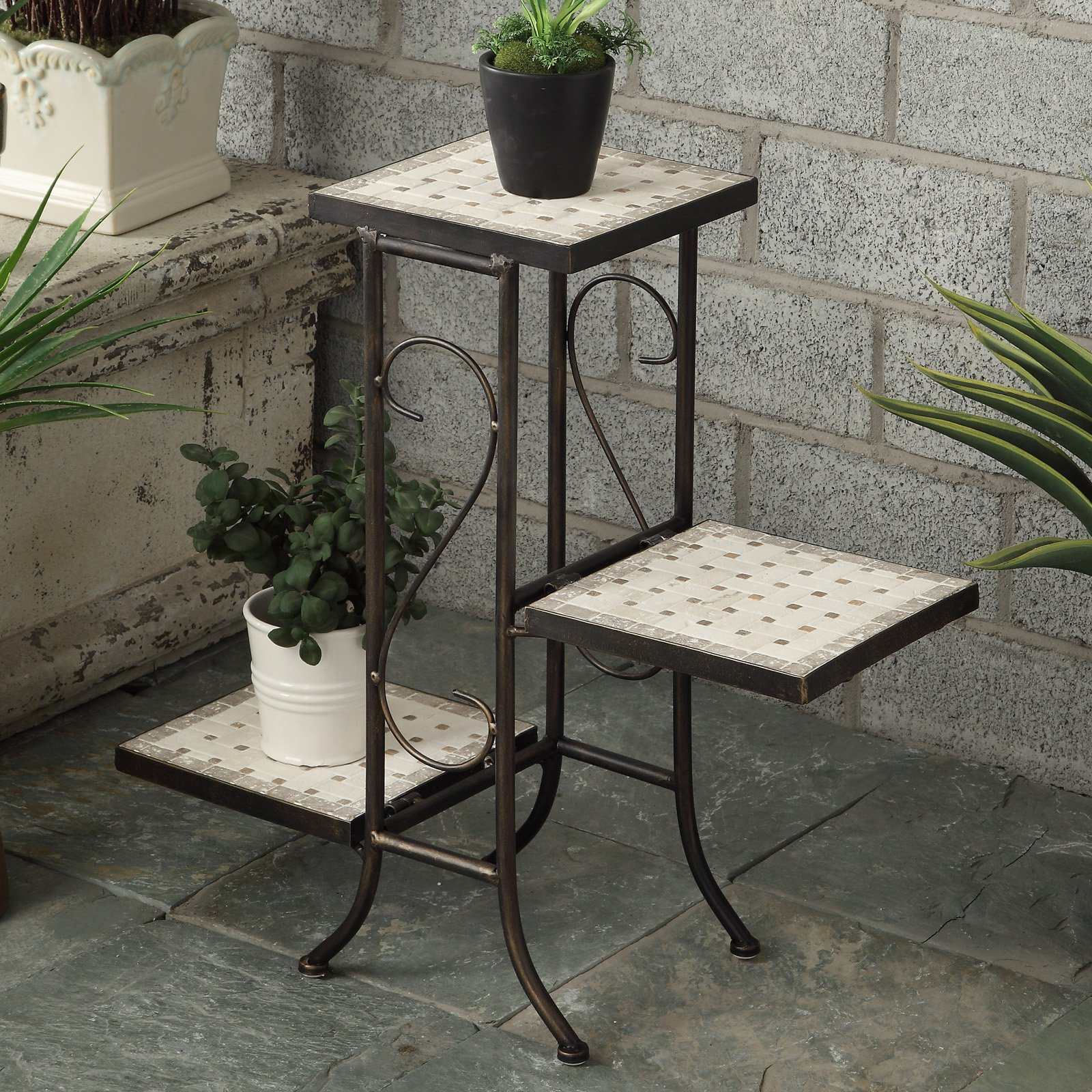 4D Concepts 3 Tier Plant Stand with Travertine Top by 4D Concepts