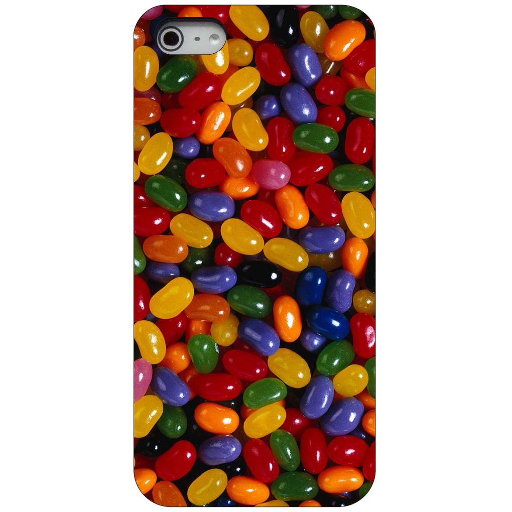 CUSTOM Black Hard Plastic Snap-On Case for Apple iPhone 5 / 5S / SE - Rainbow Jelly Beans