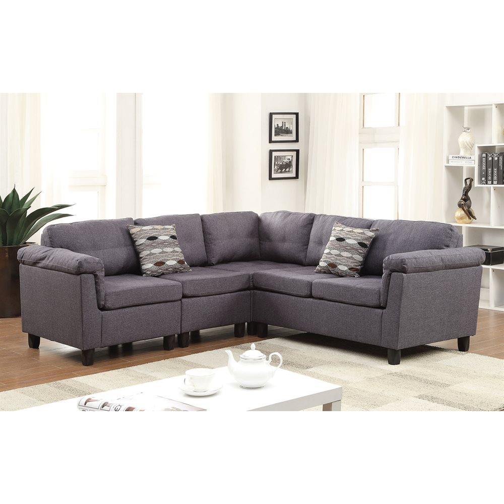 ACME Cleavon Reversible Sectional Sofa with 2 Pillows, Gray Linen by Acme Furniture