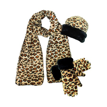 Leopard Print Fleece 3-Piece Hat Scarf & Gloves Matching Winter Set
