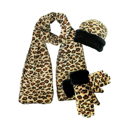 Leopard Print Fleece 3-Piece Hat Scarf & Gloves Matching Winter - 3 Piece Set Hat Scarf