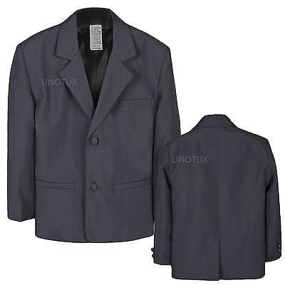 Boys Toddler Kid Formal Wedding Party Dark Gray Blazer Style Jacket Coat sz S-14