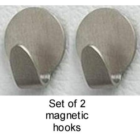 Hooks Home Decor - Brushed Nickel 2 Magnetic Clip Hooks Hanger Bathroom Office Home Decor