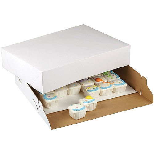 Wilton White Rectangle Corrugated Cake Box, 19 x 14 x 4 Inch, 2-Count