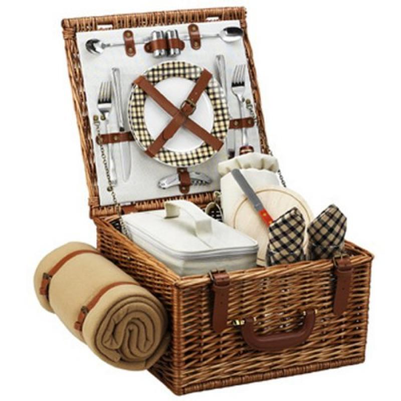 Picnic at Ascot Cheshire English-Style Willow Picnic Basket with Service for 2 and Blanket London Plaid by Picnic at Ascot