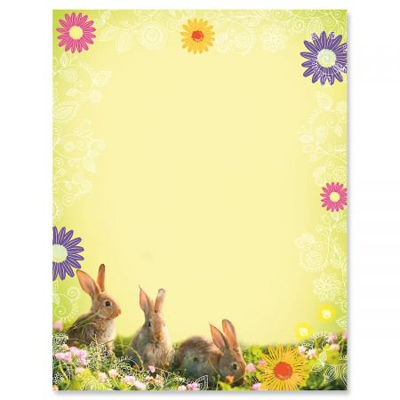 Easter Paper (Photo Bunnies Easter Letter Papers - Set of 25 spring stationery papers are 8 1/2