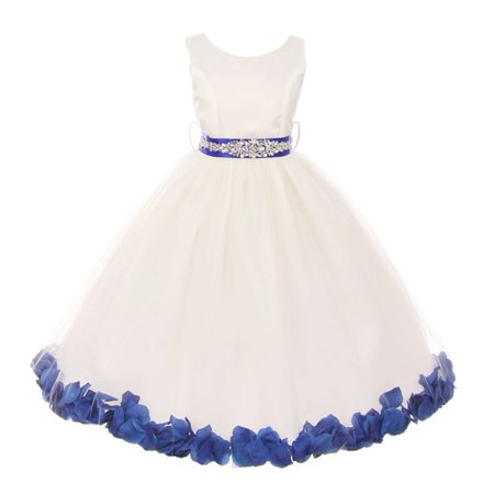 Little Girls White Royal Blue Sash Petal Jewel Embellished Flower Girl Dress