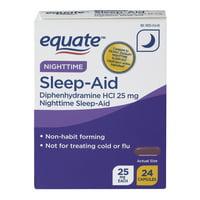 Equate NightTime Sleep-Aid Diphenhydramine Capsules, 25 mg, 24 Ct