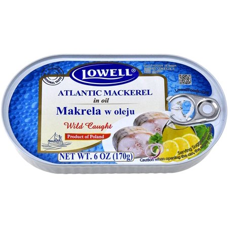 Lowell Wild Caught Atlantic Mackerel in Oil, 6 oz (24)