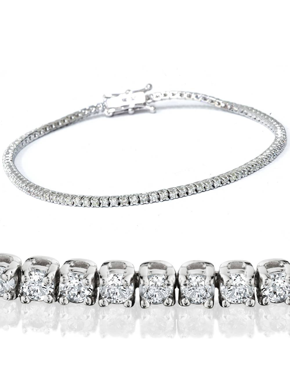 Beautiful Tennis Bracelet I1 H 2.50Ct Round Diamond Prong Set 14Kt White Gold