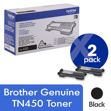 Brother Genuine High Yield Toner Cartridges, TN450, Replacement Black Toner Two Pack, Page Yield Up To 2,600