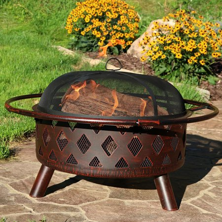Sunnydaze Bronze Crossweave Outdoor Fire Pit with Spark Screen and Poker, Wood Burning Patio Firepit Bowl, 30 Inch (Wood Stove Spark Screen)