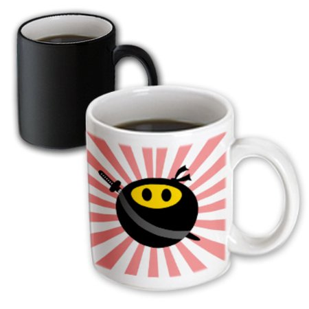 3dRose Ninja smiley face - masked yellow happy face - black mask and sword - Japan red sunburst - starburst, Magic Transforming Mug, 11oz (Black Ninja Sword)