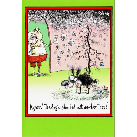 Funny Christmas Images.Nobleworks Dog Shorted Out Tree Box Of 12 Funny Christmas Cards