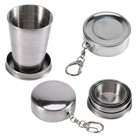Yosoo Collapsible Travel Cup Stainless Steel Retractable Foldable Cup Metal Telescopic Keychain Cups Mug for Outdoor Travel Camping Picnic Hiking