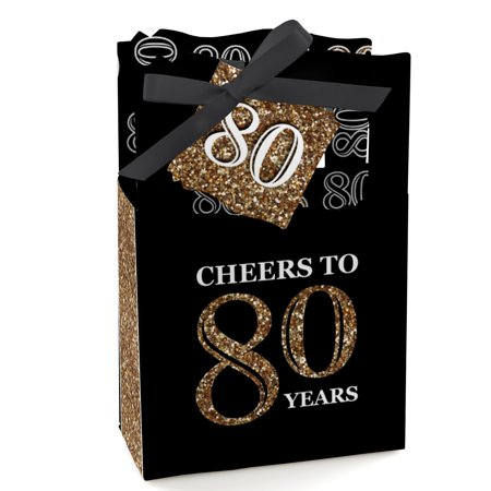 Adult 80th Birthday - Gold - Birthday Party Favor Boxes - Set of 12