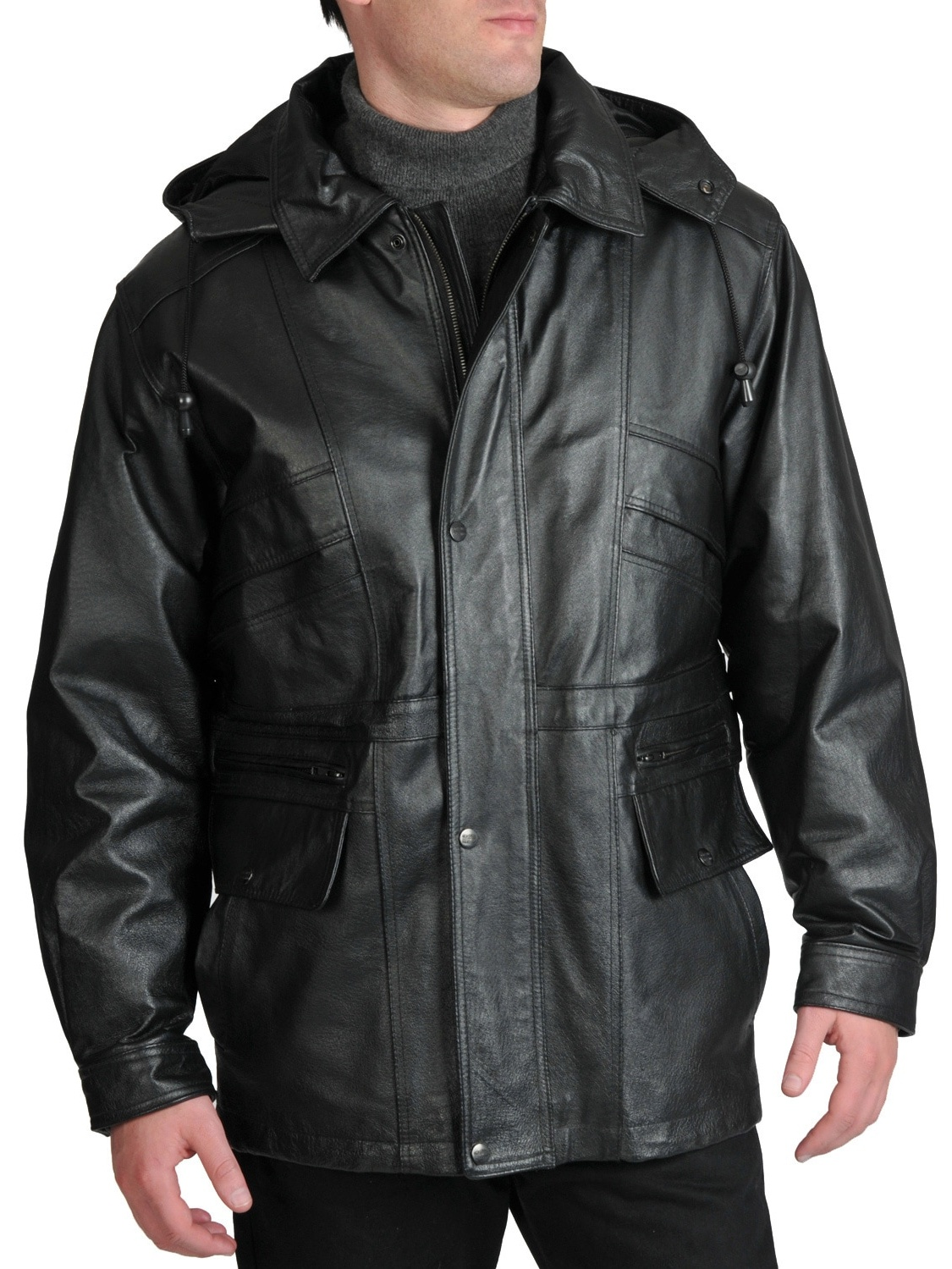 EXcelled Men's Leather Removable Hood Parka by Overstock