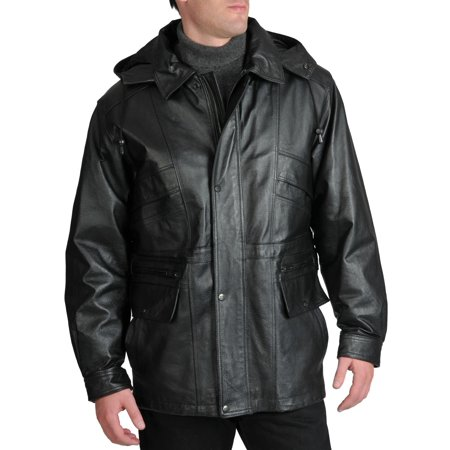 excelled  men's leather parka with removable hood