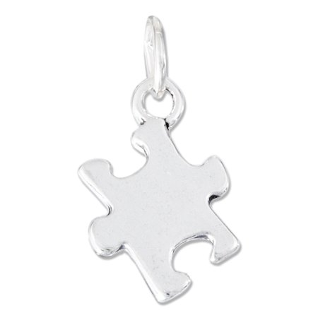 STERLING SILVER HIGH POLISH JIGSAW PUZZLE PIECE AUTISM