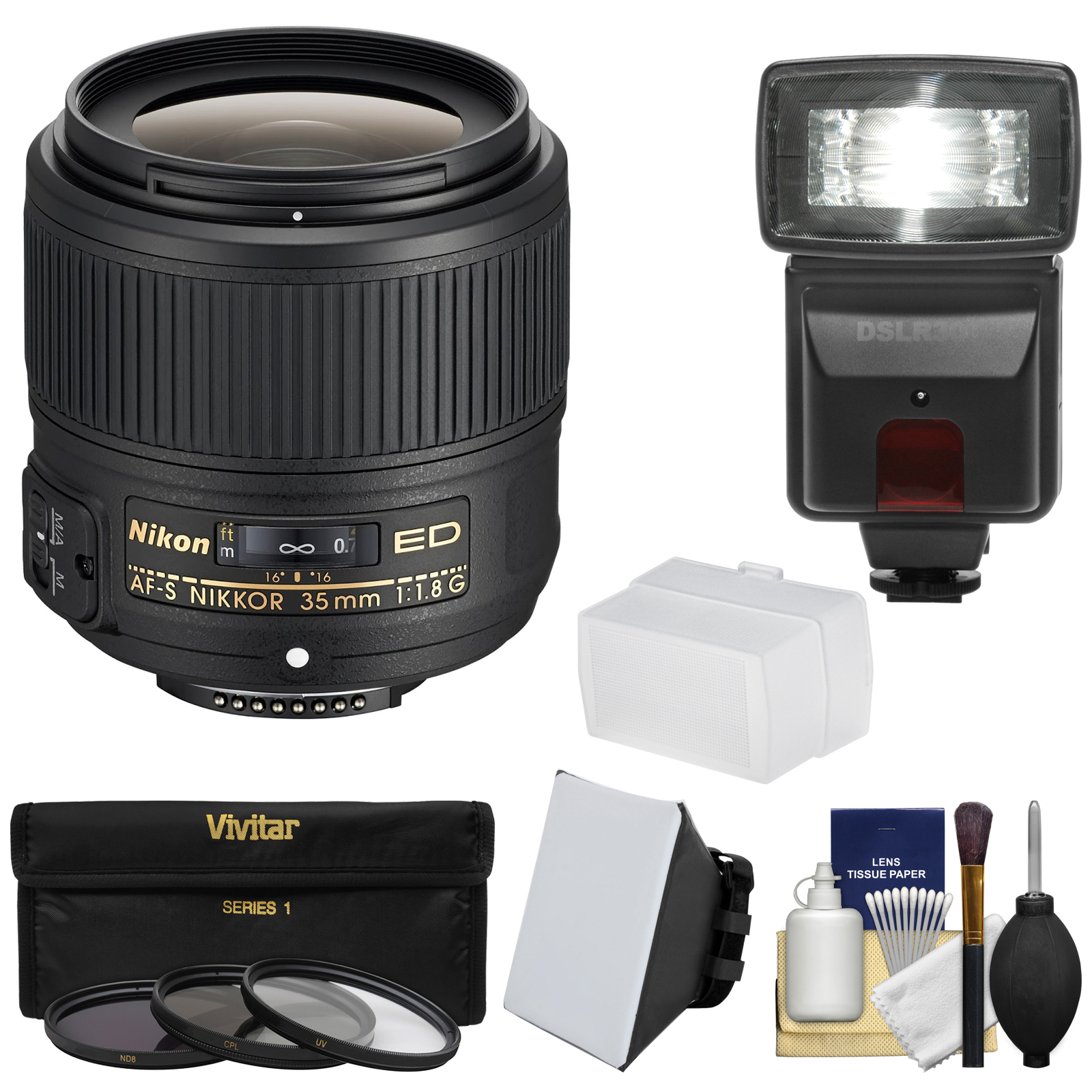 Nikon 35mm f/1.8G AF-S ED Nikkor Lens with 3 Filters + Flash & 2 Diffusers + Kit for D3200, D3300, D5300, D5500, D7100, D7200, D750, D810 Cameras