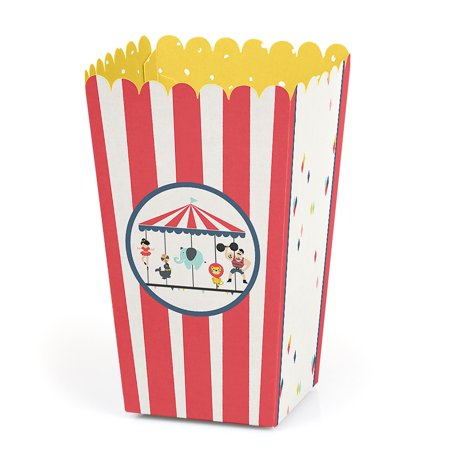 Circus Party Favors (Carnival Circus - Cirque du Soiree - Baby Shower or Birthday Party Favor Popcorn Treat Boxes - Set of)