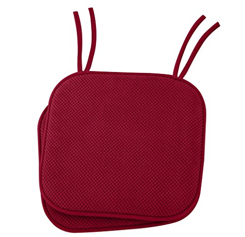 "Ellington Home Non Slip Memory Foam Cushion Chair Pads With Ties 17"" x 16"" Set of 2 Red by LIVEDITOR LIGHTING"