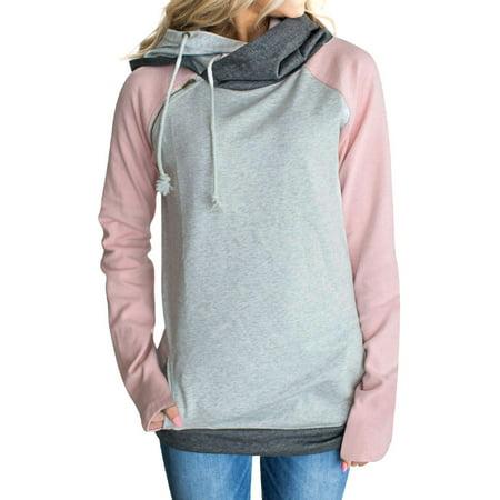 ZXZY Women Long Sleeve Colorblock With Zipper