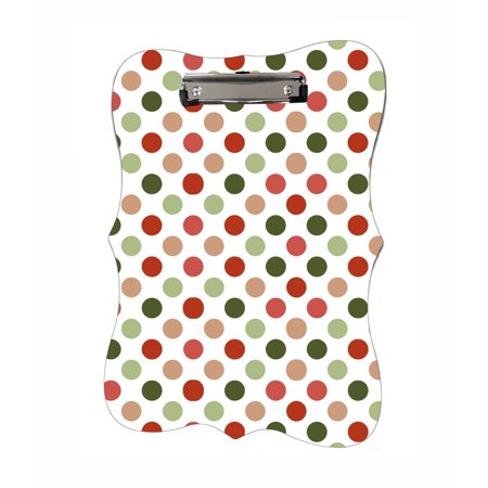 Geen And Red Polka Dots - Benelux Shaped 2-Sided Hardboard Clipboard - Dry Erase (Geek Dot)