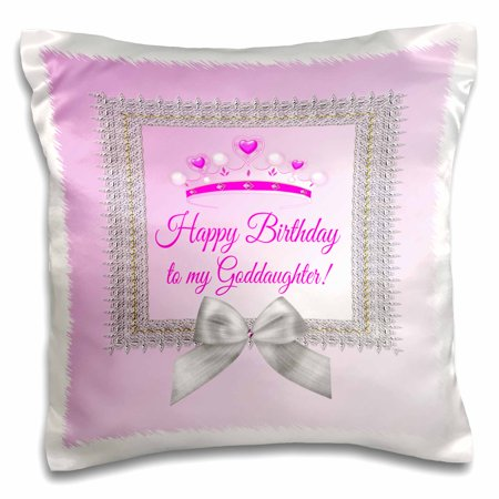 3dRose Princess Crown Silver Frame, Bow, Happy Birthday, Goddaughter, Pink - Pillow Case, 16 by - Crown Frame