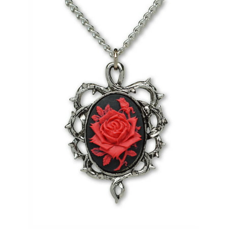 Gothic Red Rose Cameo In Silver Finish Thorn Frame Cosplay Jewelry Pendant Necklace by Real Metal Jewelry