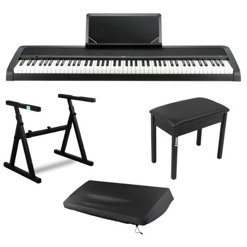 Korg B1-BK 88-Key Digital Piano (Black) w/ Keyboard Stand & Bench & Keyboard Dust Cover