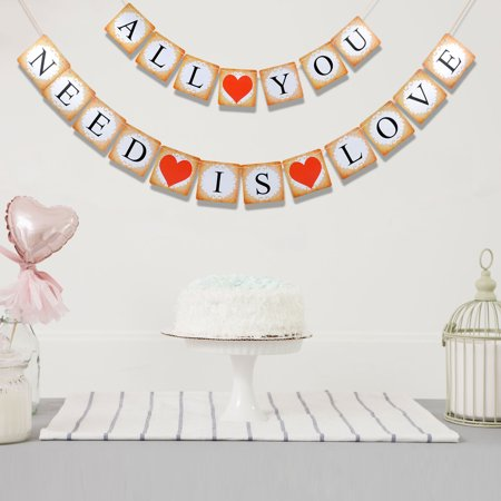 Valentine's Day Decoration Banner, Outgeek Party Banner Sweet Heart Letter Sign Hanging Banner Paper Decor Banner for Wedding Party - Valentine Banner