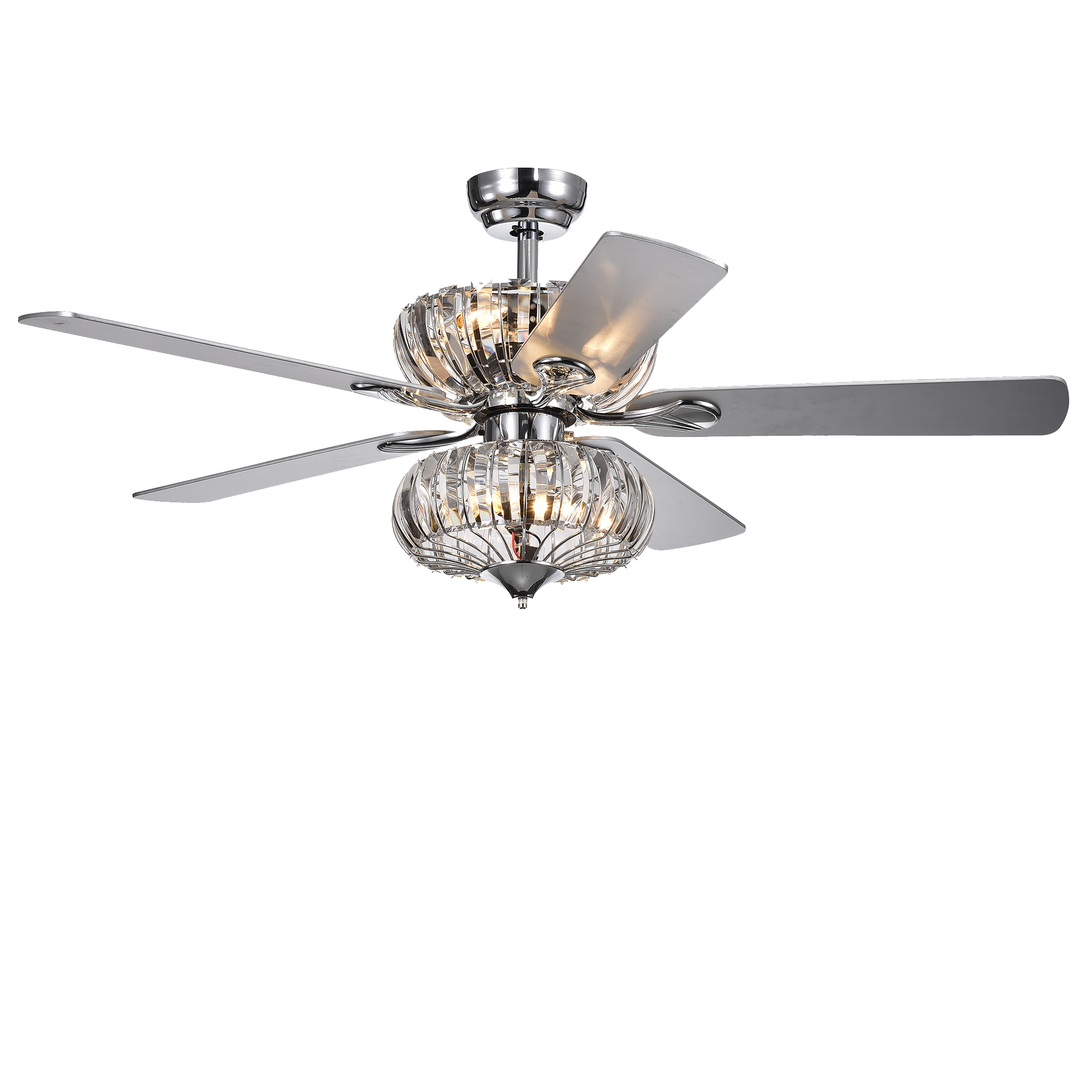 Kyana 6 Light Crystal 5 Blade 52 Inch Chrome Ceiling Fan With Remote Walmart Com